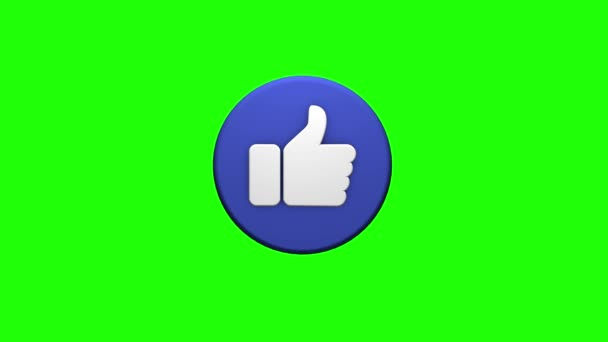 A symbol of a like on a greenscreen background. 3D rendering for social networks Video Clip