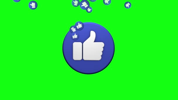 A symbol of a like on a greenscreen background. 3D rendering for social networks Stock Video