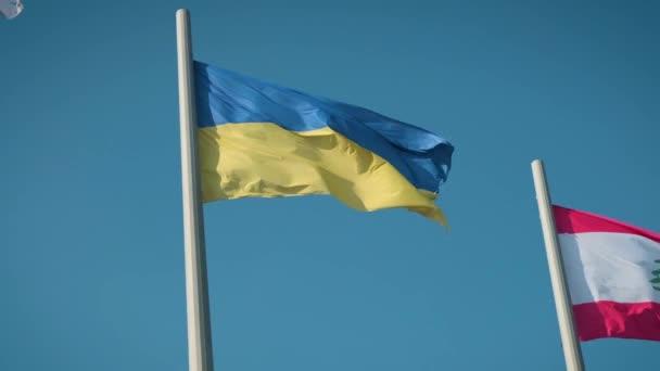 Flag of Ukraine. Ukrainian flag against the blue sky.