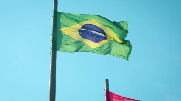 Brazilian Flag waving in wind in 4k.