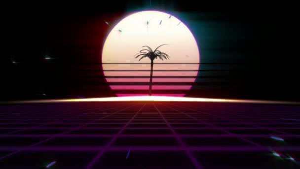80-as évek retro futurizmus háttér. A háttérben a naplemente vagy a hajnal a nap pálmafa.