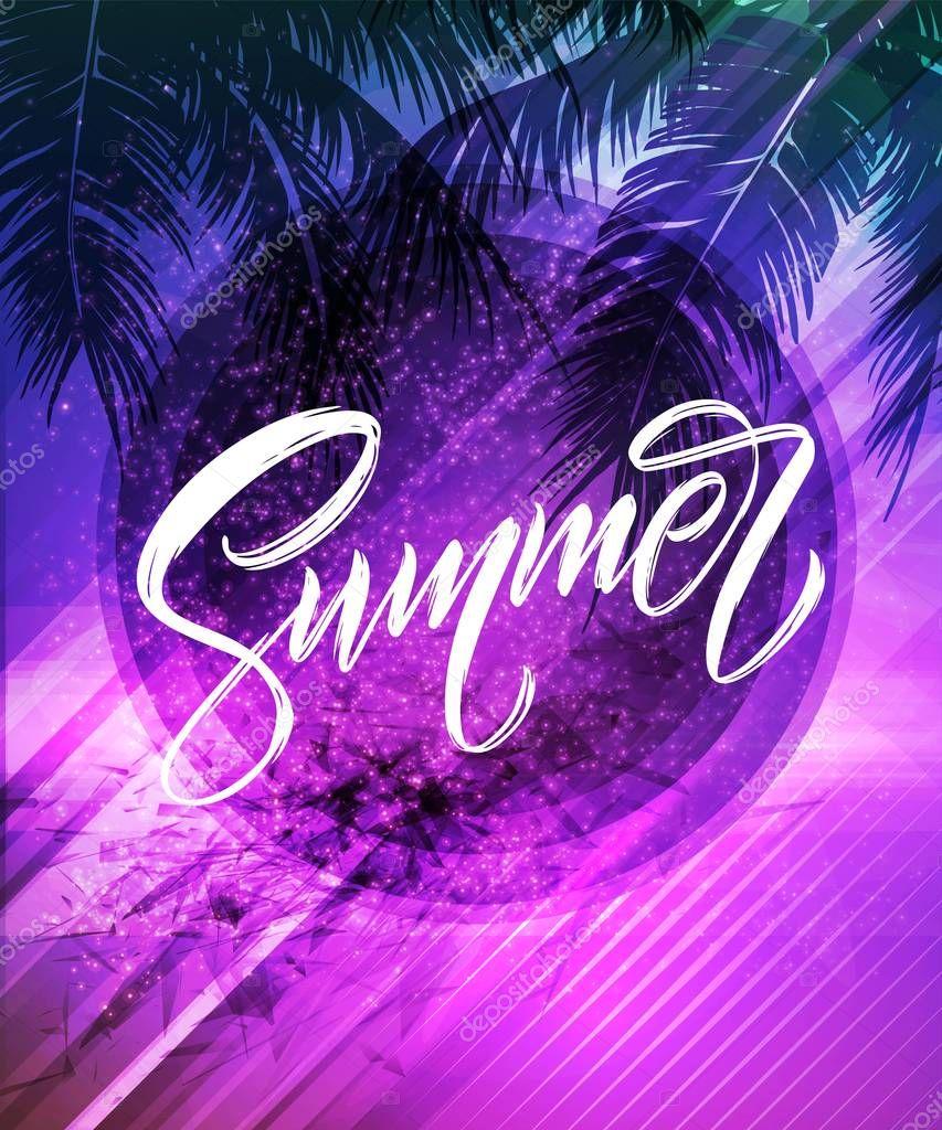 Summer lettering. Palm leaf and sea background. Vector illustration