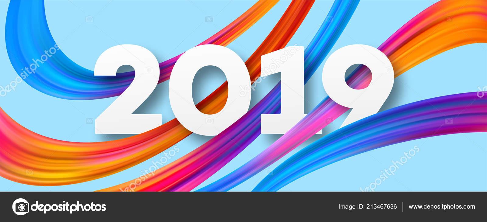 2019 New Year acrylic banner design — Stock Vector © Vik_Y