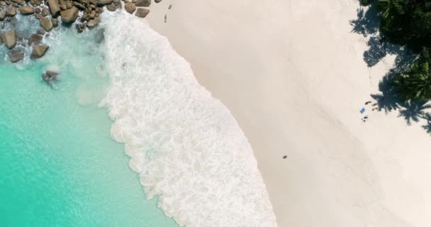 Aerial view of sand beach  Looping ocean texture, Top view sea waves slow  motion, flying over tropical sandy beach and waves, Sunset beach seamles  loop