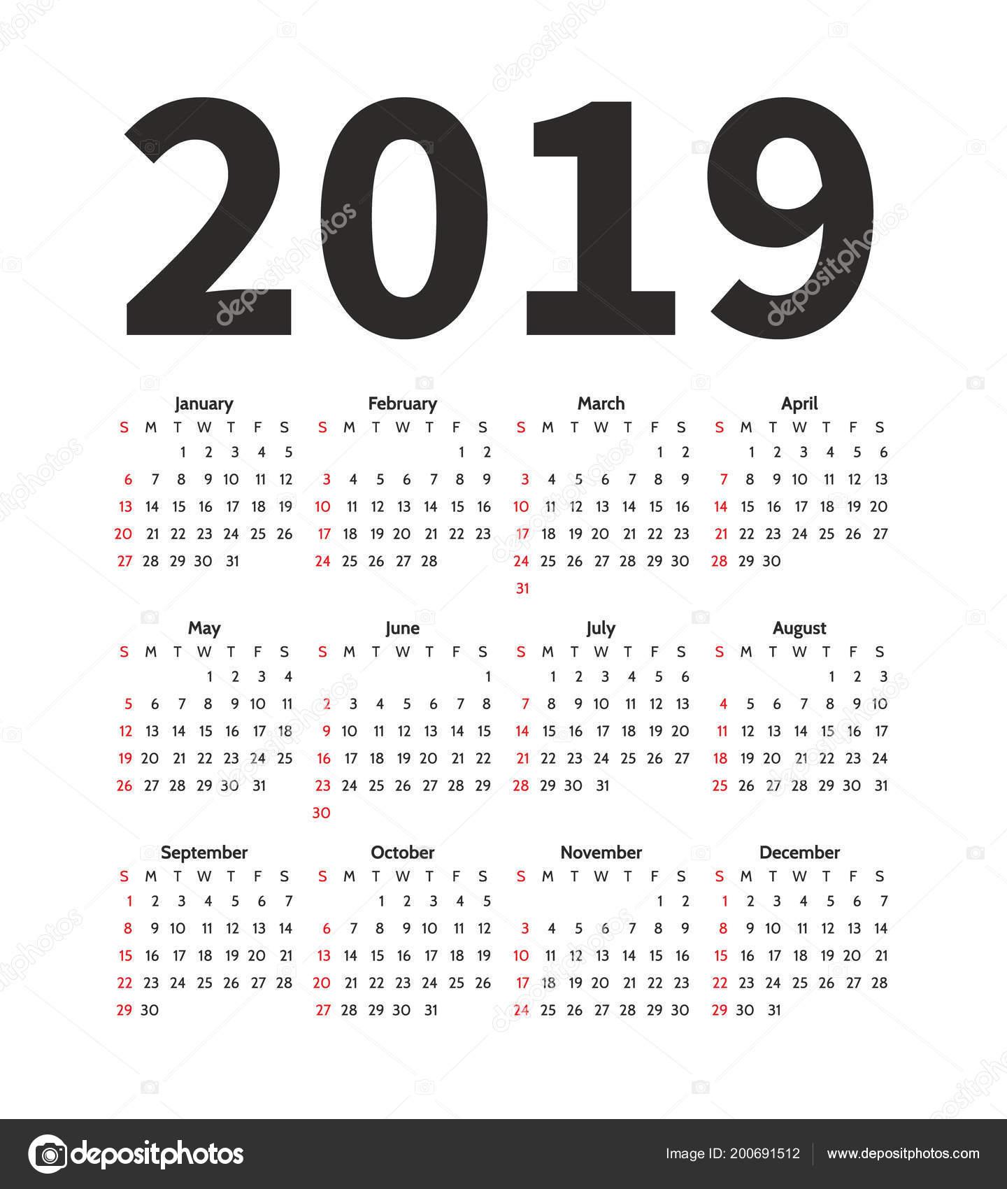 Calendar 2019 Year Vector Design Template Simple Minimalizm Style