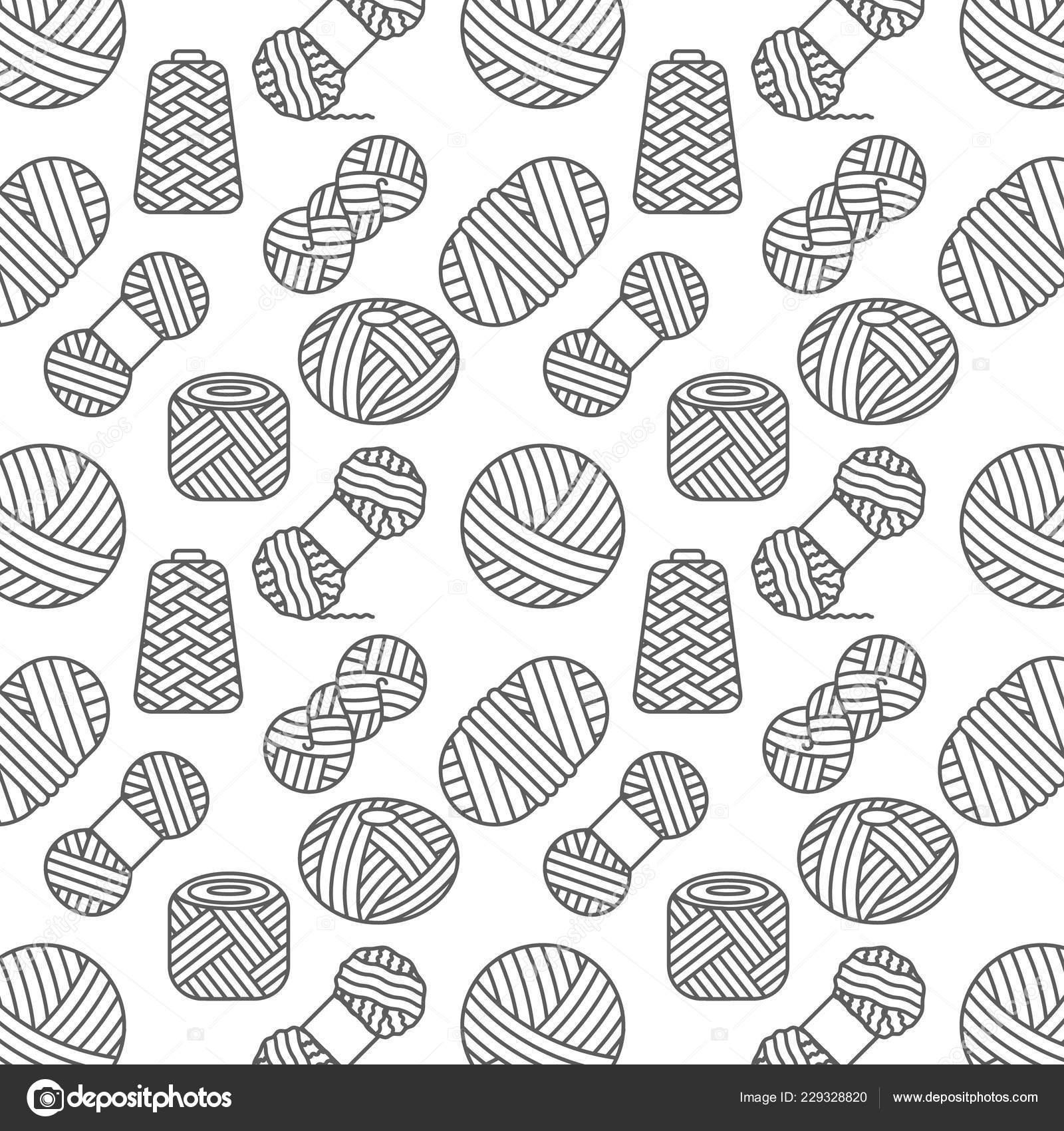Hacer punto, ganchillo patrones sin fisuras. Hilados de lana de ...