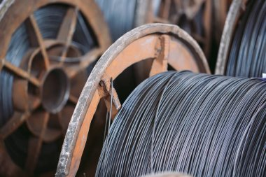 skeins of coiled wires for industrial usage at factory