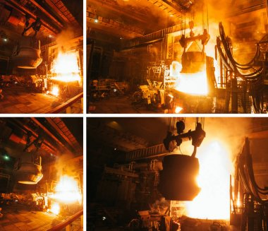 Collage of steel production in electric furnaces.