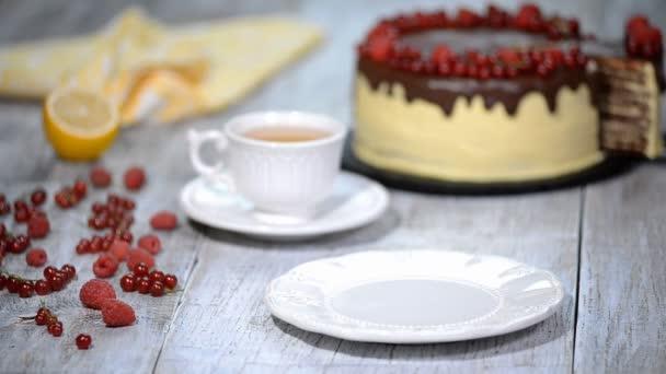 Chocolate honey layer cake Medovik. Piece of chocolate honey cake