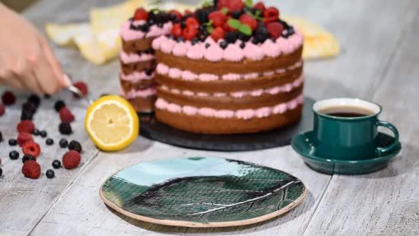 kus čokoládový dort s polevou a čerstvé bobule.