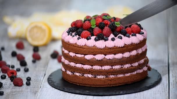 Čokoládový dort s letními plody. Dělení čokoládový dort