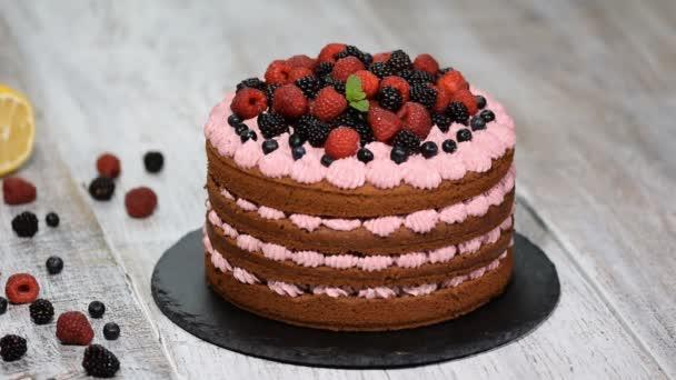 Zdobení dort berry s mátou listy. Domácí čokoládový dort.