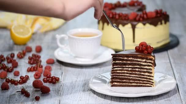 Szelet étcsokoládét réteg torta bogyók és csokoládé öntettel.