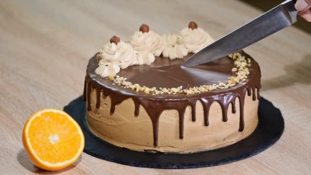 Dívka řezání čokoládový dort.
