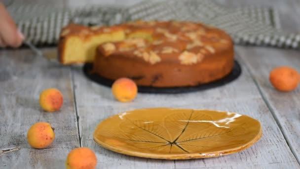 Szelet frissen sült sárgabarack és mandulás torta.