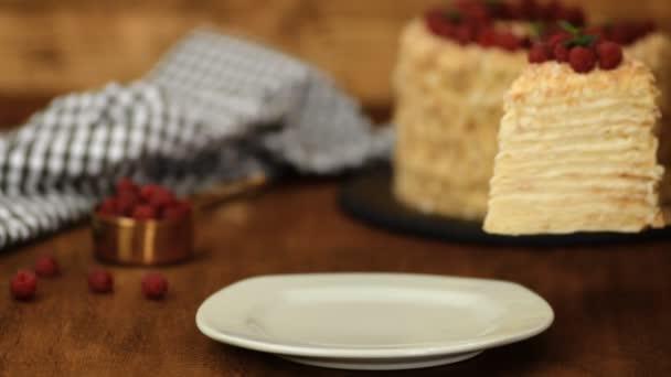 szelet cukrászda Napóleon torta díszített málna. A pudingkrémes torta adagja.