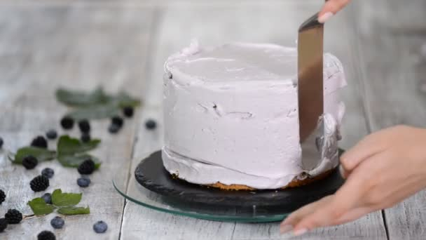 Confectioner smooths purple cream on a biscuit cake with a cooking spatula. The concept of homemade pastry, cooking cakes.