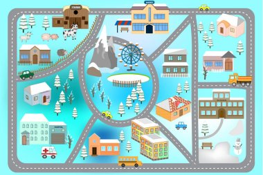 Winter artoon map seamless pattern (roads, cars and houses). City map for children. Snowy city landscape, car track -  play mat.