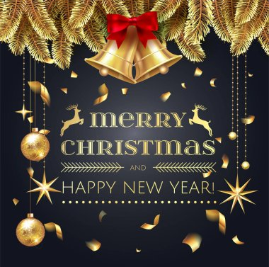 Merry Christmas and Happy New Year stock vector greeting card with Chrirstmas decorations fir tree border, gold bell and confetti . Black luxury and gold christmas classic colors. EPS 10