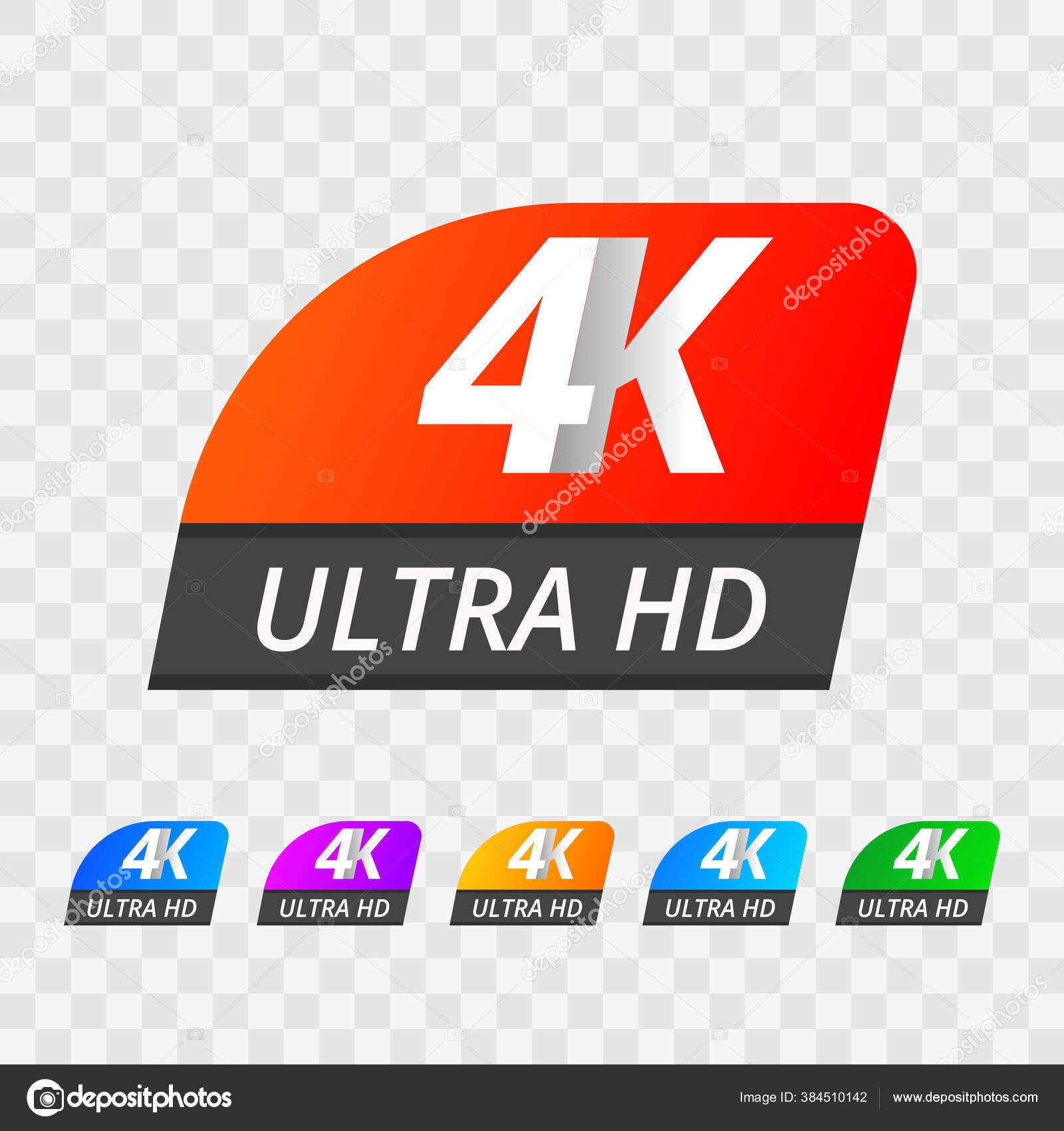 Vector 4k Ultra Hd Sign Label Uhd Tv Set Of Emblem Isolated On Transparent Background Vector Image By C Nikelser Vector Stock 384510142