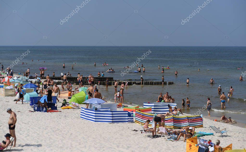 12 JULY 2018 - OSTROW, POLAND: Polish Baltic sea during summer