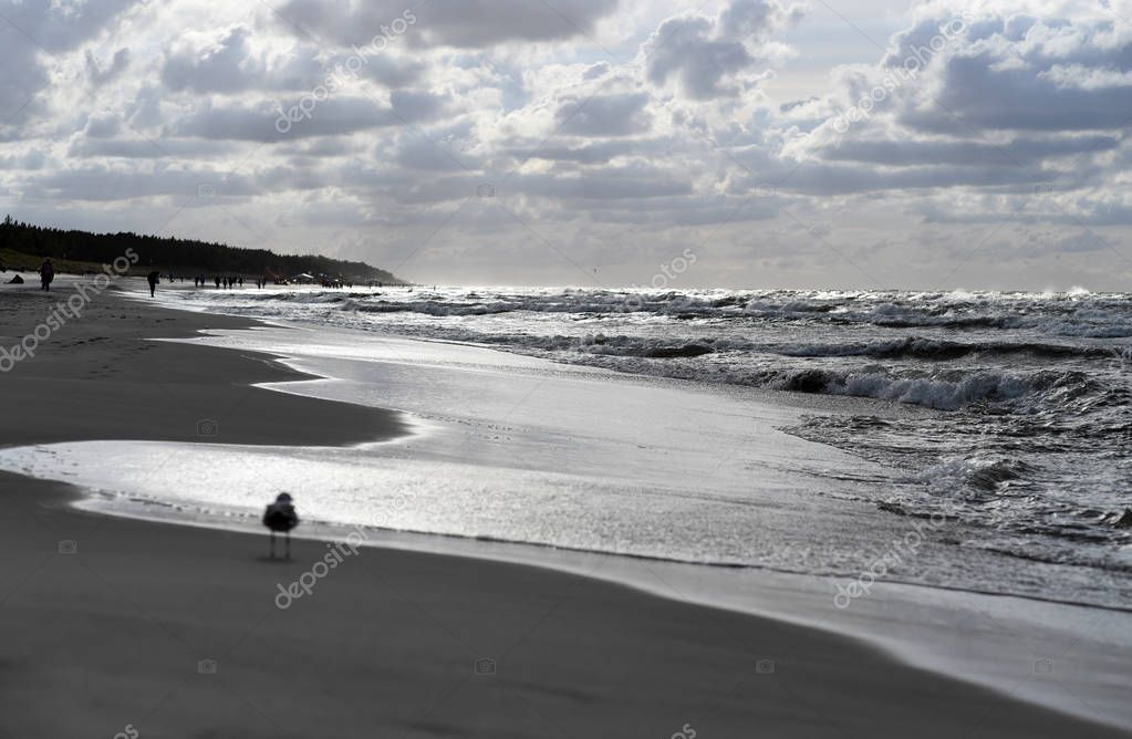 12 JULY 2018 - OSTROW, POLAND: Polish Baltic sea during summer