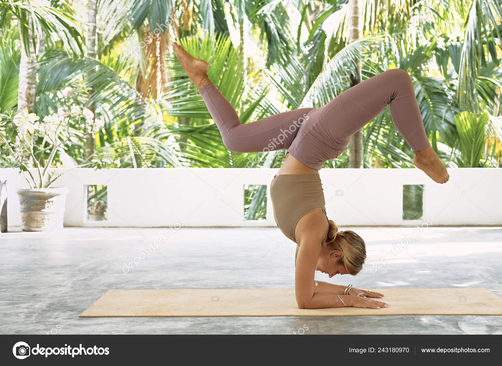 Woman Practicing Advanced Yoga Organic Mat Series Yoga Poses Tropical Stock Photo C Glazunofoto Gmail Com 243180970
