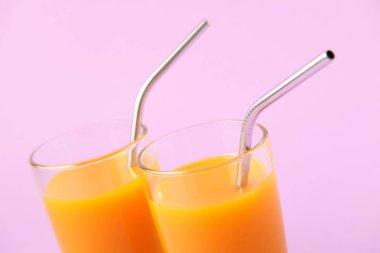 Two Orange Juice Glass with Metallic Steel Tubes