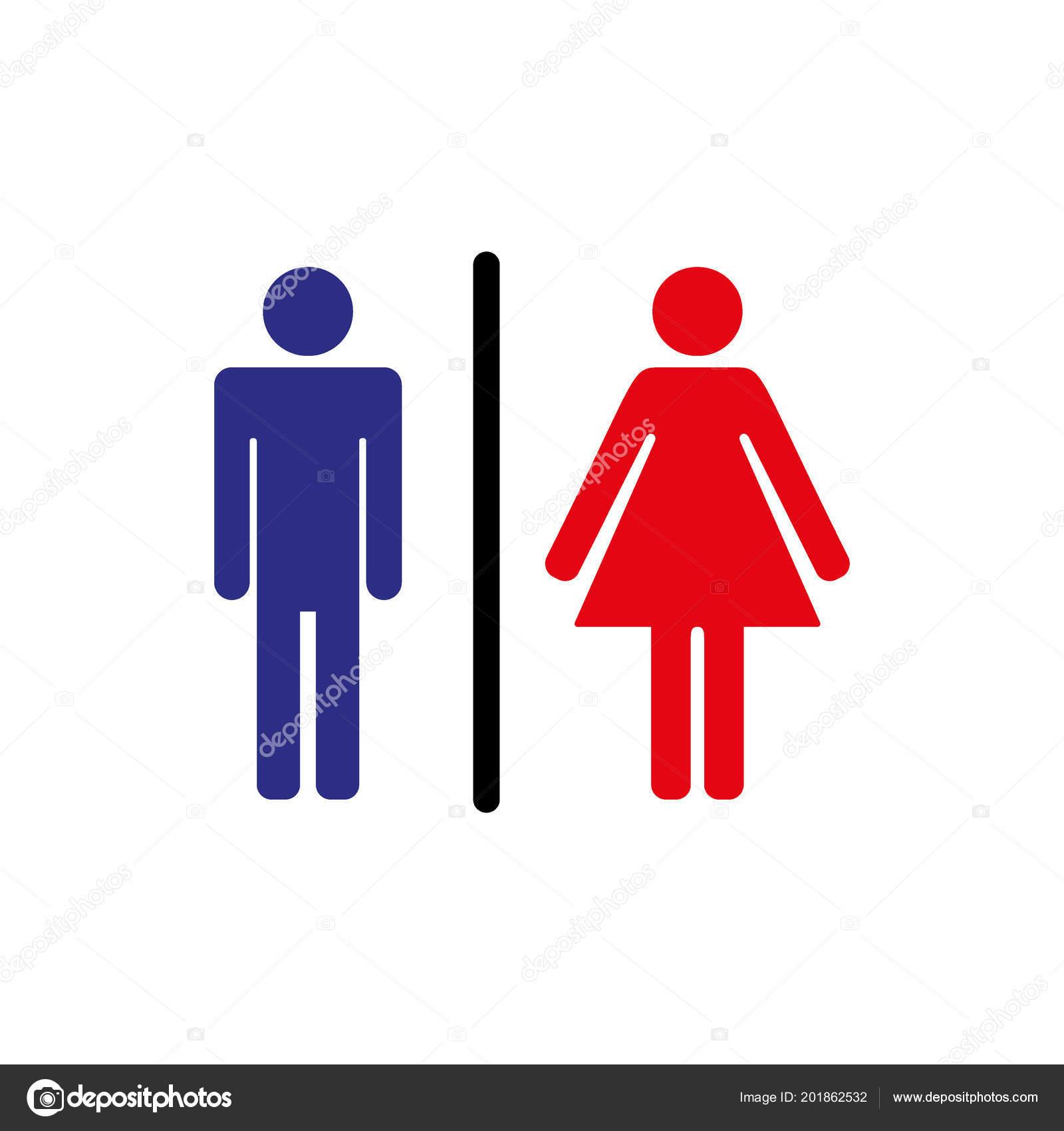 Man Lady Toilet Icon Isolated Flat Design Male Female Symbol Stock
