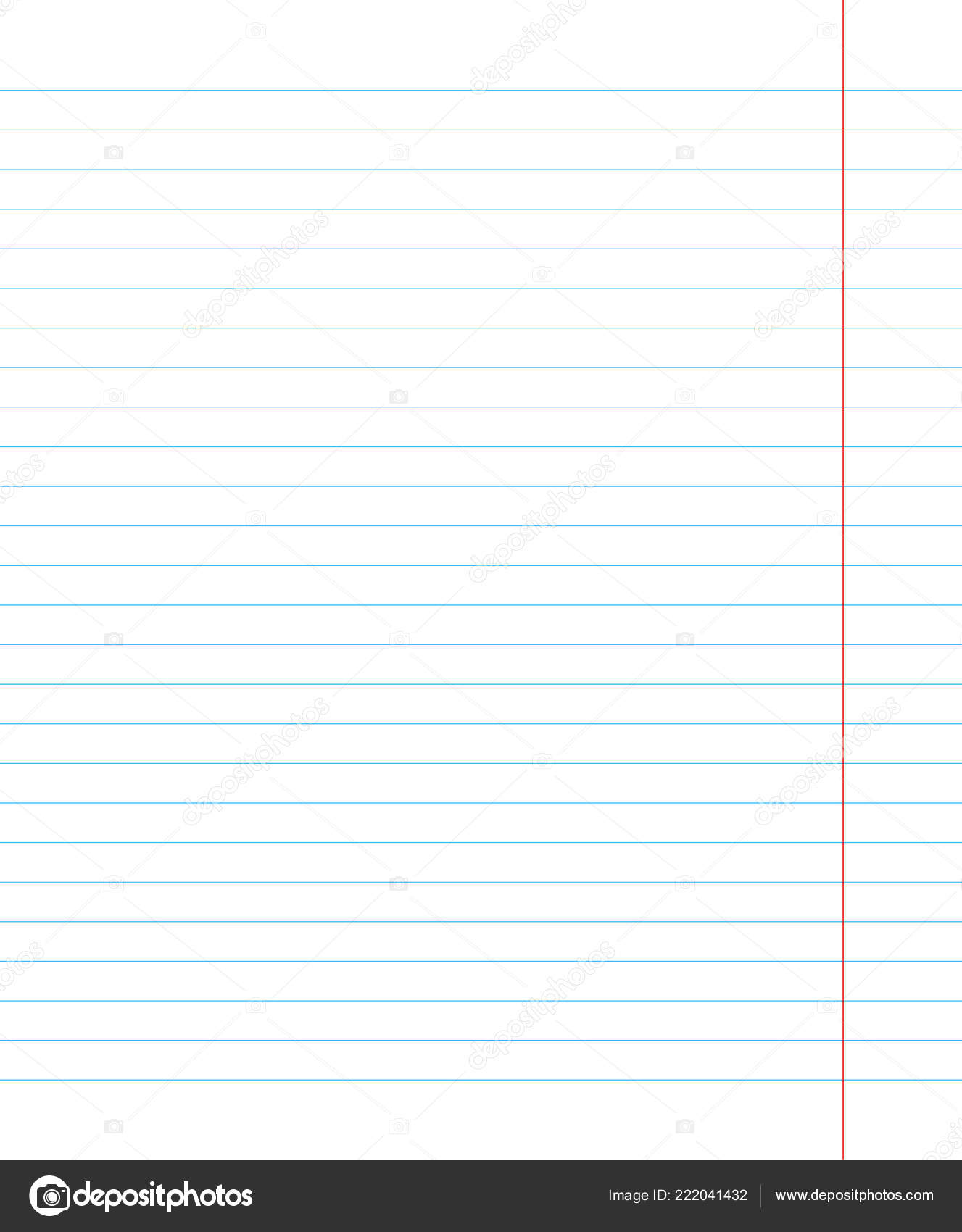 notebook page template with lines vector illustration stock