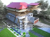 Photo modern concept of construction works the house is assembled by parts on the land 3d render image