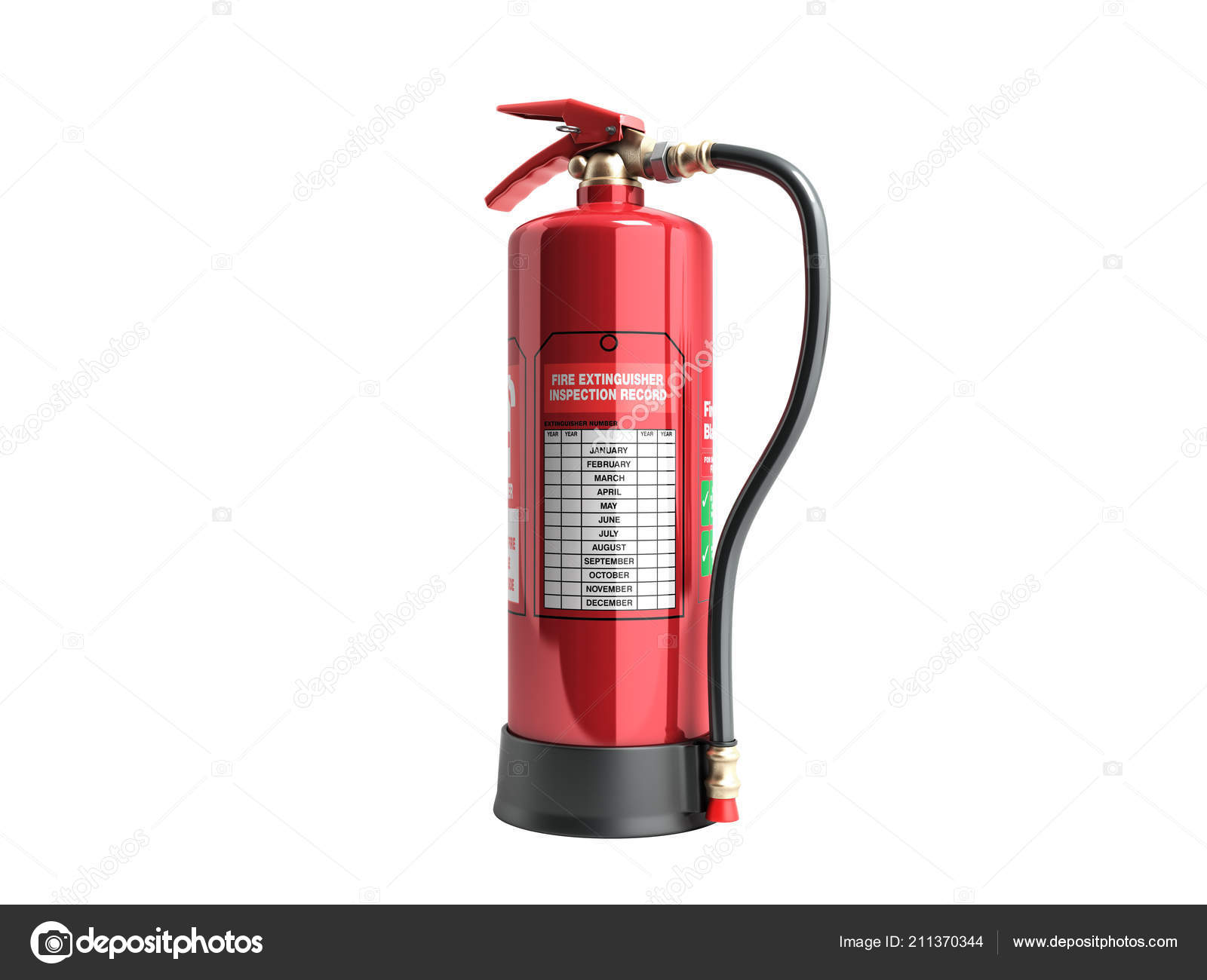 Fire Extinguisher Inspection Record Render White Background