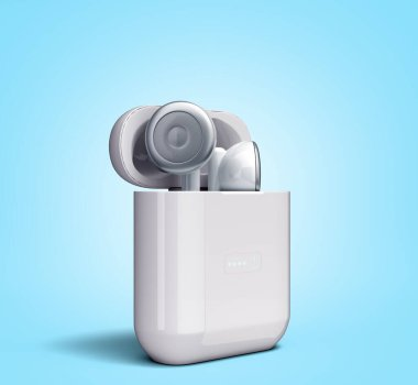 White wireless headphones in charge box 3d render image on blue gradient