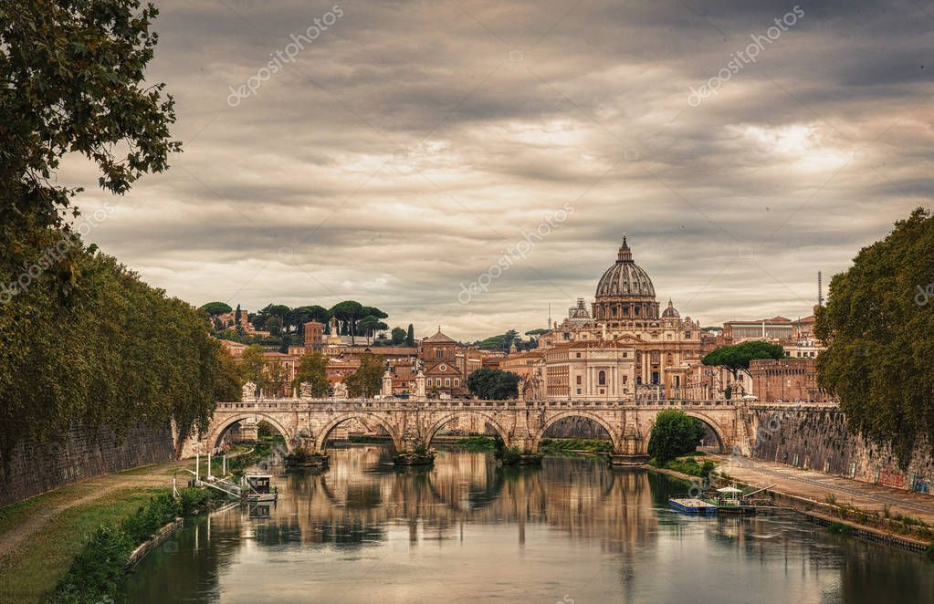 View at Tiber and St. Peters cathedral in Rome, Italy