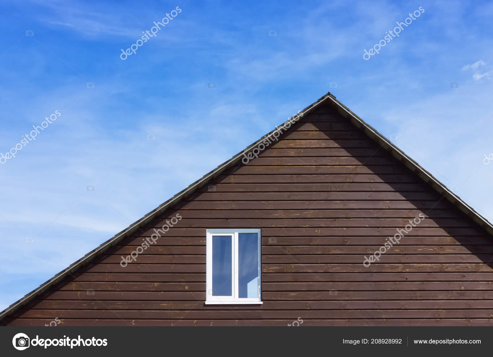 Top Part Wooden Plank House Plastic Window Gable Roof Blue Stock