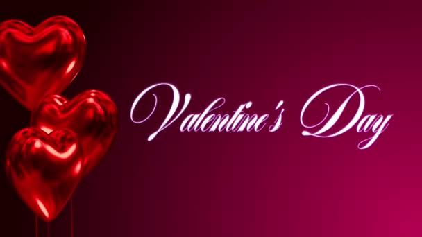 Szívek Valentin-nap február 14-én baloons repülni, bal oldalon