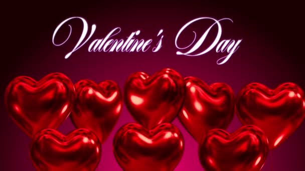Hearts valentines day baloons fly up