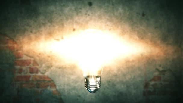 Explodující žárovka 4k nápadité inovační koncepce na pozadí