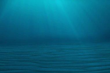 Underwater blue background in sea, ocean, with volume light. 3d illustration