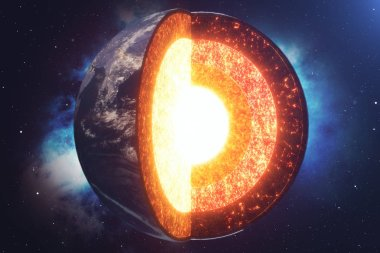 Structure core Earth. Structure layers of the earth. The structure of the earths crust. Earth cross section in space view. Elements of this image furnished by NASA. 3D rendering.