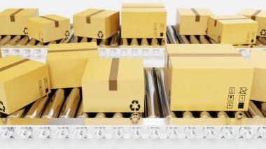3D rendering Packages delivery, packaging service and parcels transportation system concept, cardboard boxes on conveyor belt