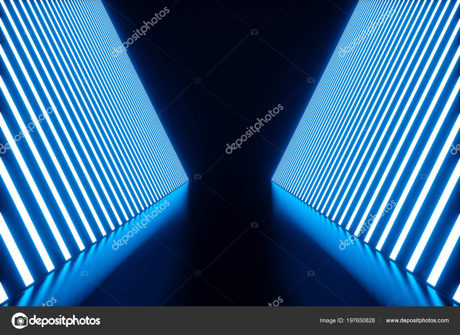 3d rendering abstract blue room interior with blue neon lamps