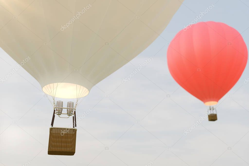 3D illustration hot air balloon on sky background. White, red, blue, green and yellow air ballon flyes on sky.
