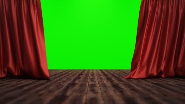 3D-Rendering-Animation offen und geschlossen luxuriöse rote Seide, Vorhang Dekoration Design. Roter Bühnenvorhang für die Kulissen von Theatern oder Opern. Mock-up für Ihr Designprojekt