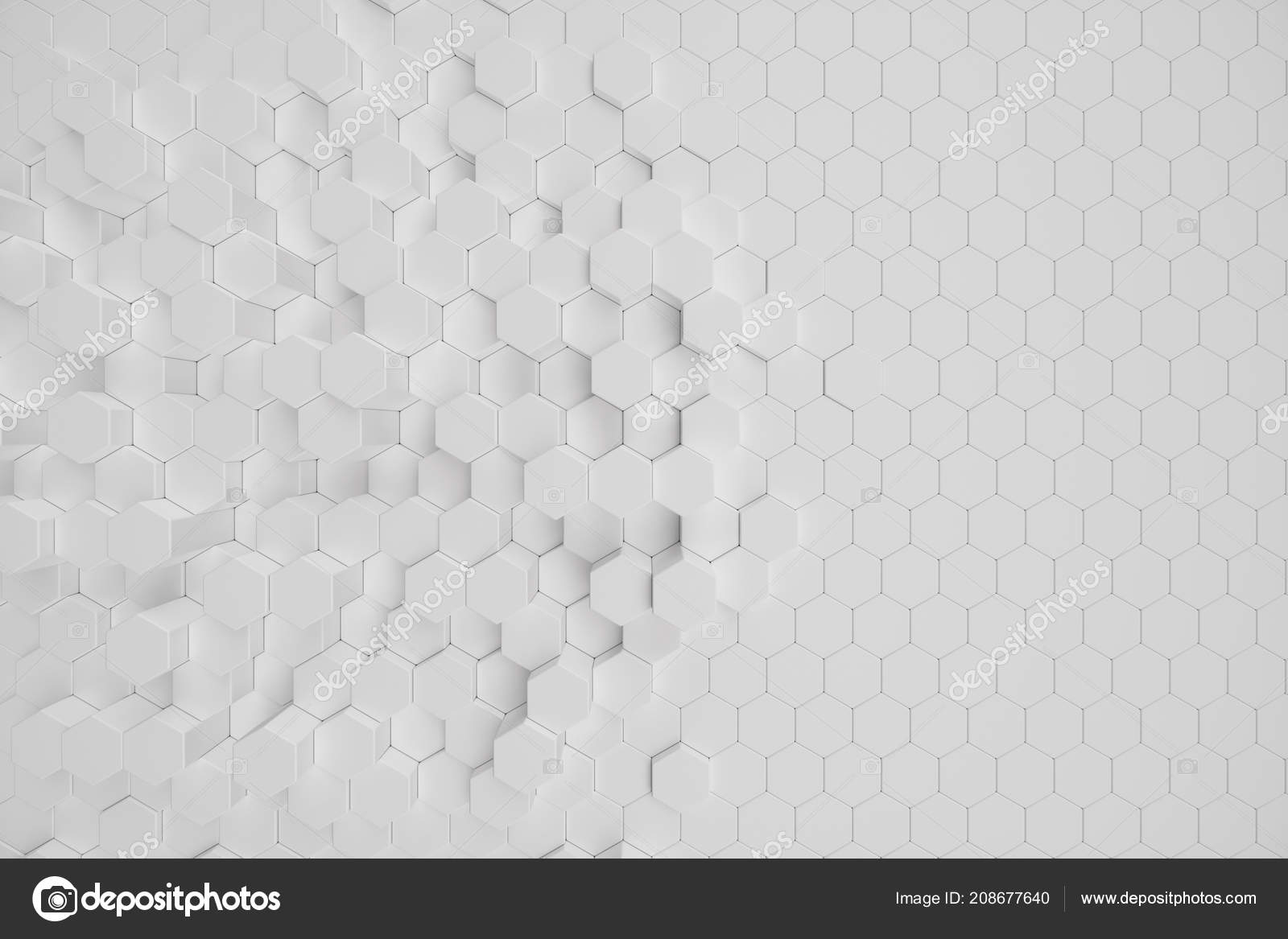 3d illustration white geometric hexagonal abstract background