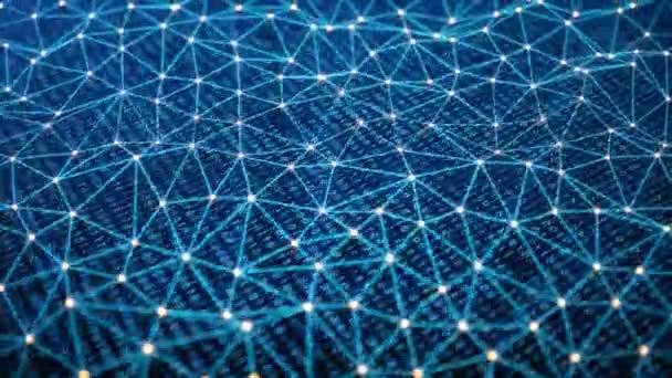 bietet Sicherheitszugriff mit binärem Code. Konzept des binären Codes. Digitale Zahlen eins und Null auf blauem Hintergrund mit volumetrischem Licht abstrakte Verbindungen von Linien mit Punkten, die Dreiecke bilden