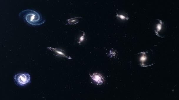 Spirální galaxie ve vesmíru. Průzkum vesmíru. Koncept cestování vesmírem. Místo na pozadí. 3D animace