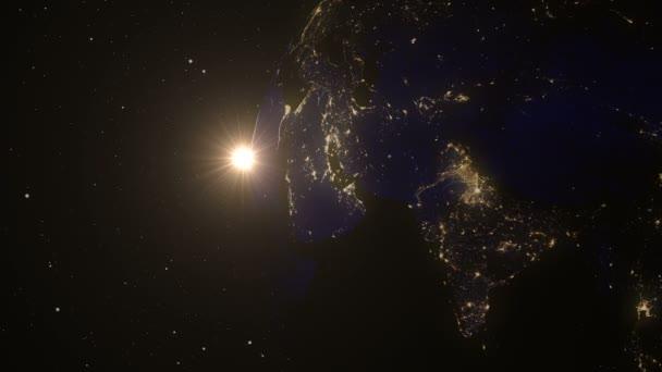 Zeměkoule, země z vesmíru. Pomalé západ od oběžné dráhy země. Planeta Země západu slunce. Realistické 3d animace. Světové Globe obklopené nekonečný prostor. Prvky tohoto obrázku jsou podle Nasa