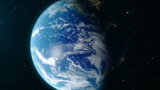 Blížíme se k zemi. Zeměkoule z vesmíru. Země se otáčí kolem své osy. Oběžné dráze kolem země. Realistické 3d animace. Prvky tohoto obrázku jsou podle Nasa