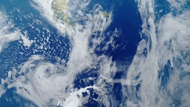 Země se otáčí kolem své osy detailní pohled. Orbita ISS. 3D animace. Prvky tohoto obrázku jsou podle Nasa